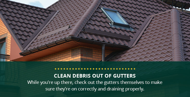 Clean debris out of gutters.