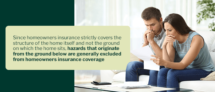 Sinkhole insurance excluded from homeowners insurance